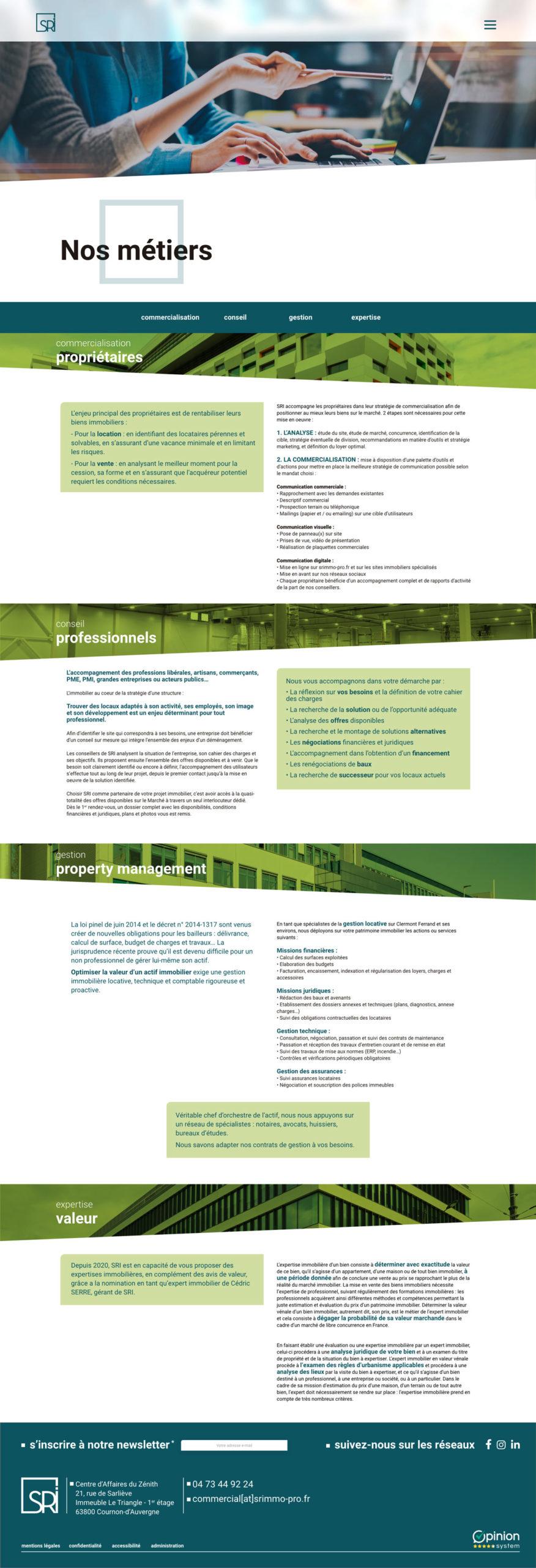 Vice Versa Maquette complète de la page nos métiers du site SRi