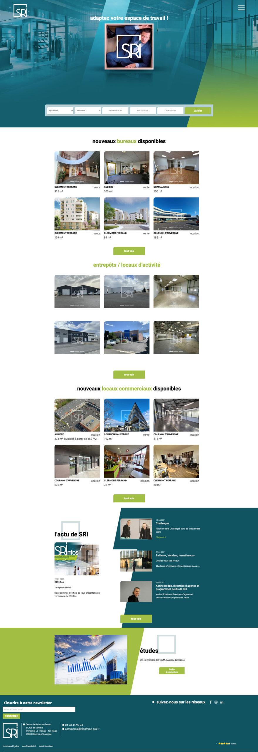 Vice Versa Maquette complète de la page d'accueil du site SRi
